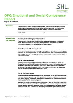OPQ Emotional and Social Competence Report