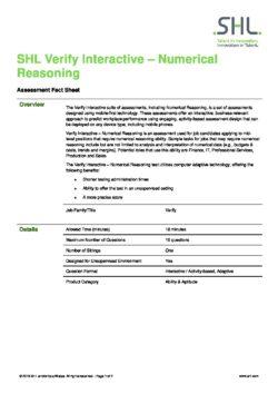 Verify Interactive – Numerical Reasoning