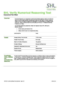 Verify Numerical Reasoning Test