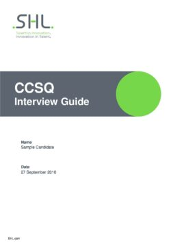 Customer Service Questionnaire - Interview Guide