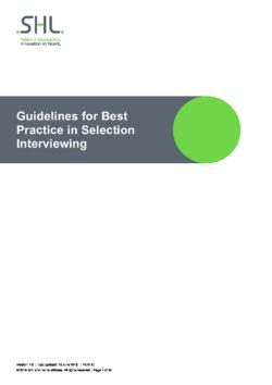 Guidelines for Best Practice Selection interviewing
