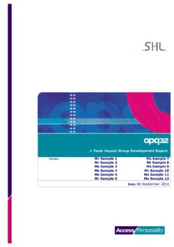 OPQ Team Impact Group Development Report